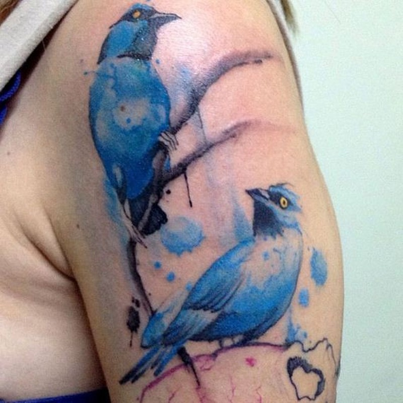 Watercolor tattoo bird