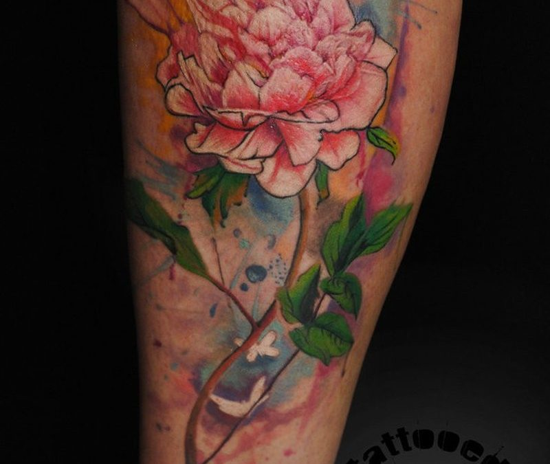 Watercolor tattoo peony by dopeindulgence