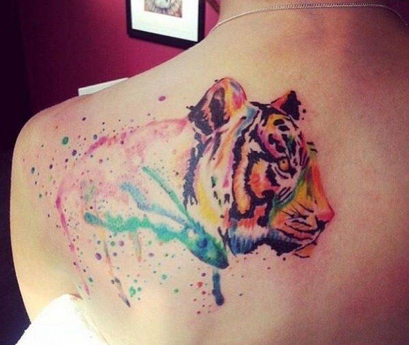 Watercolor tattoo tiger