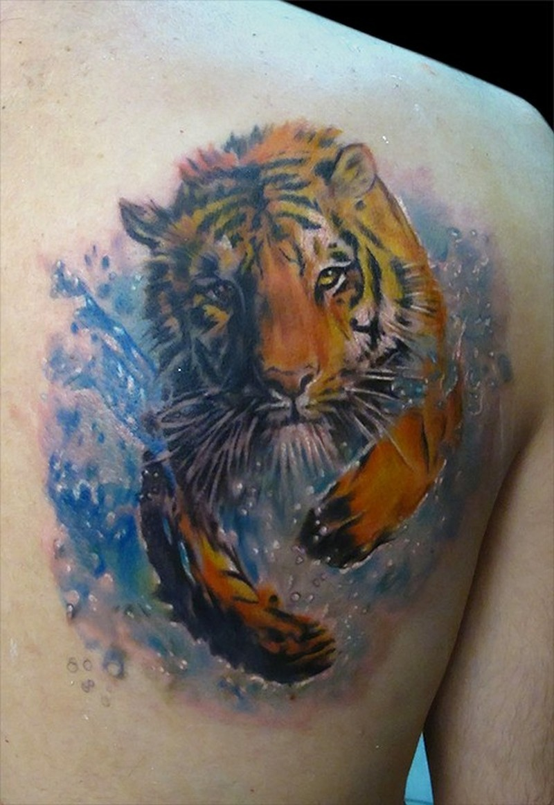 Watercolor tattoo tiger by bhbettie