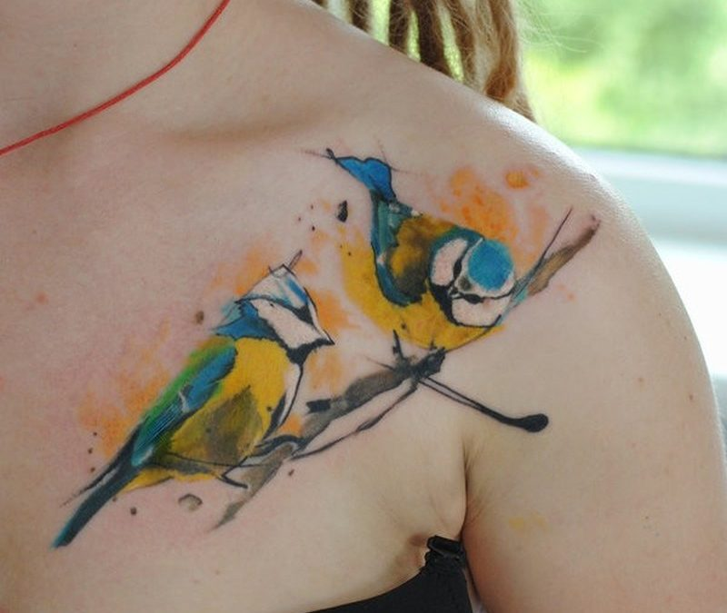 Watercolor tattoo tomtit by dopeindulgence