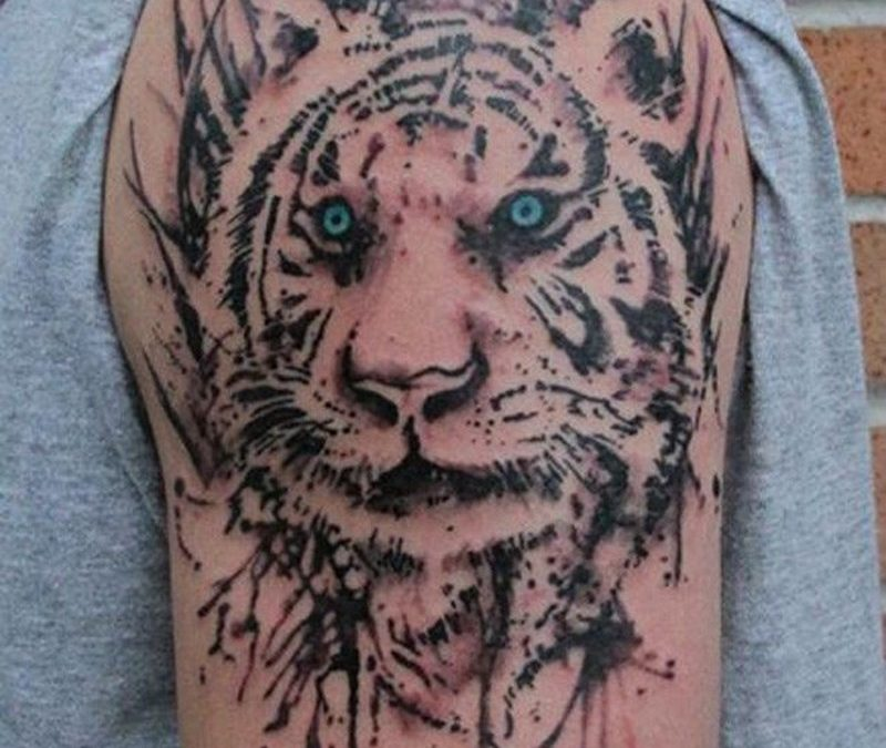 Watercolor tiger tattoo on sleeve