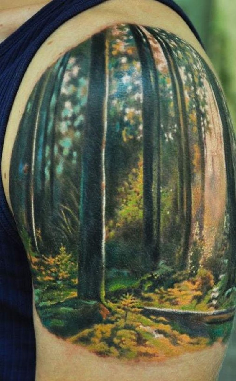 The Best Forest Watercolor Tattoo