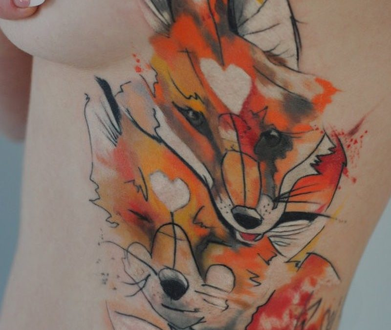 Watercolor two foxes by dopeindulgence tattoo