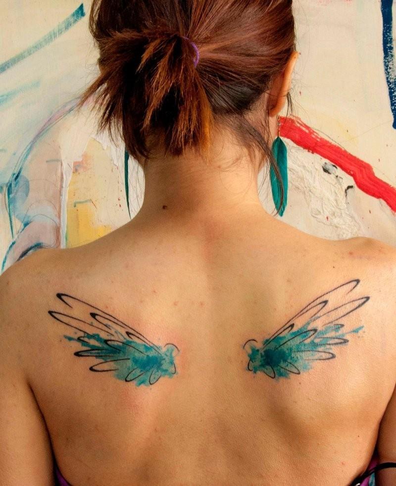 Watercolor wings by koraykaragozler tattoo