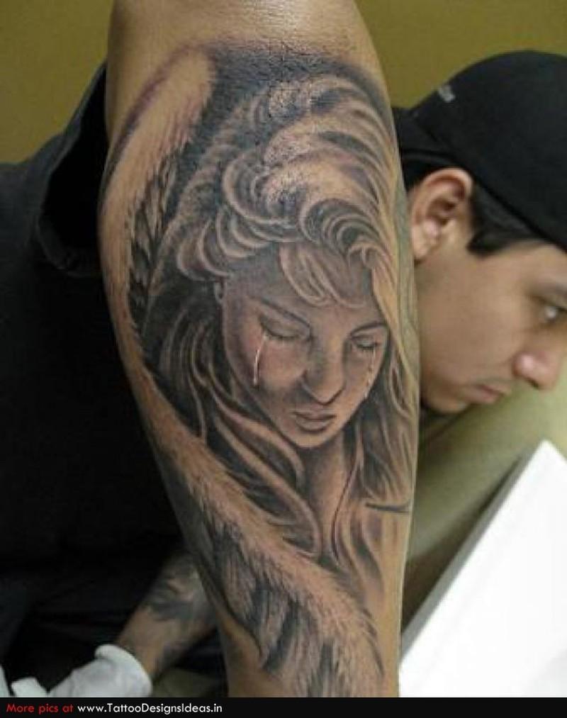 Weeping angel tattoo design