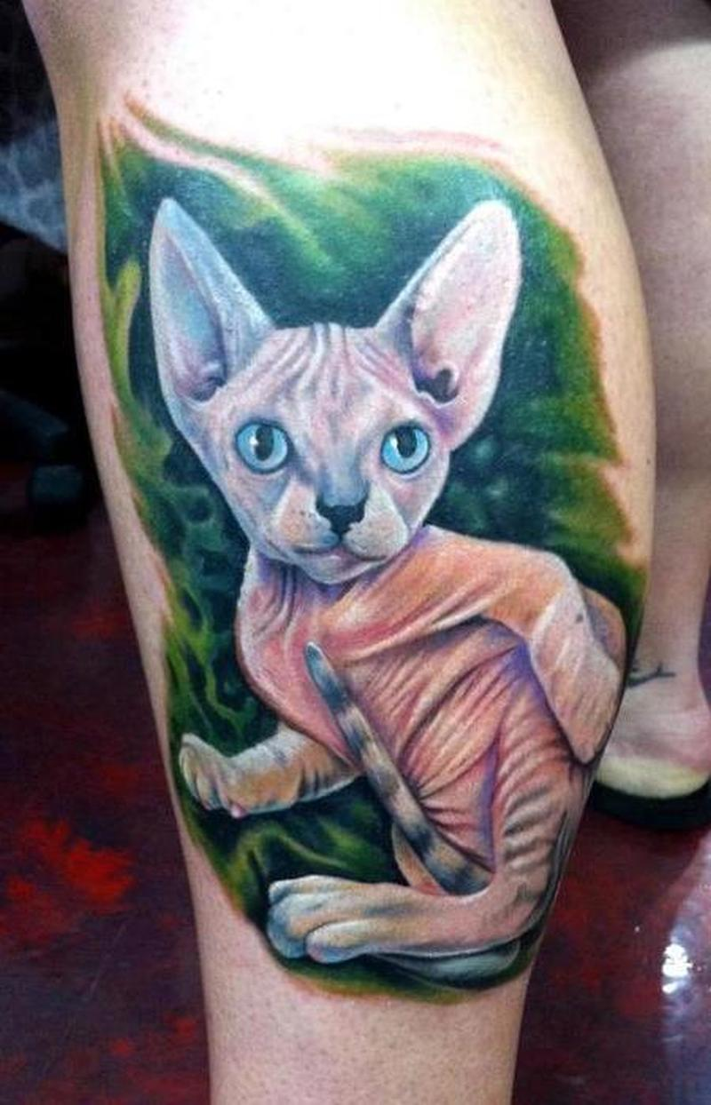 White cat tattoo design