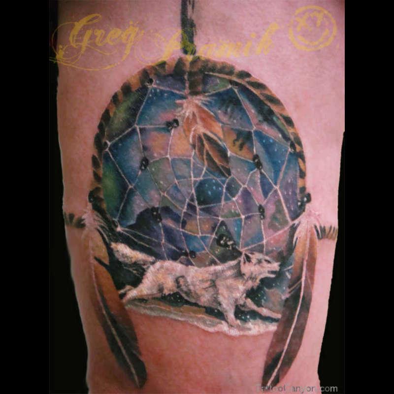 0a50281688865 White Wolf N Dream Catcher Tattoo Design Tattoos Book 65000