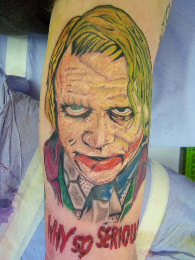 Why so serious joker portrait tattoo design