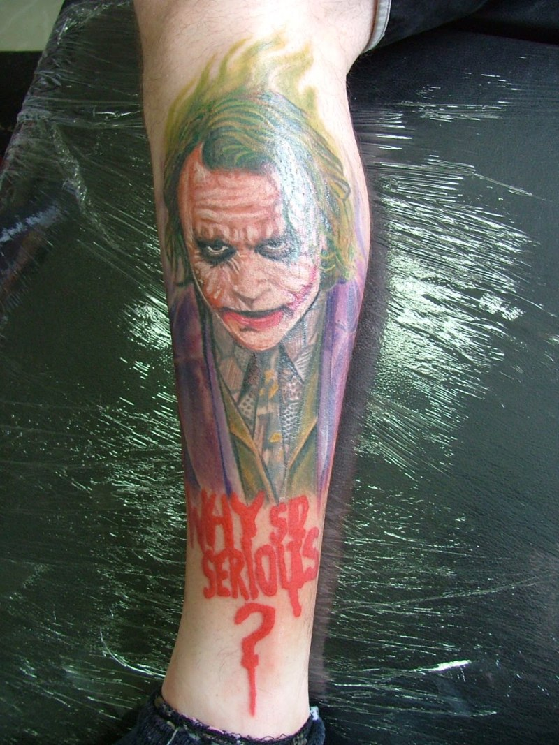 Why so serious joker tattoo on leg 2