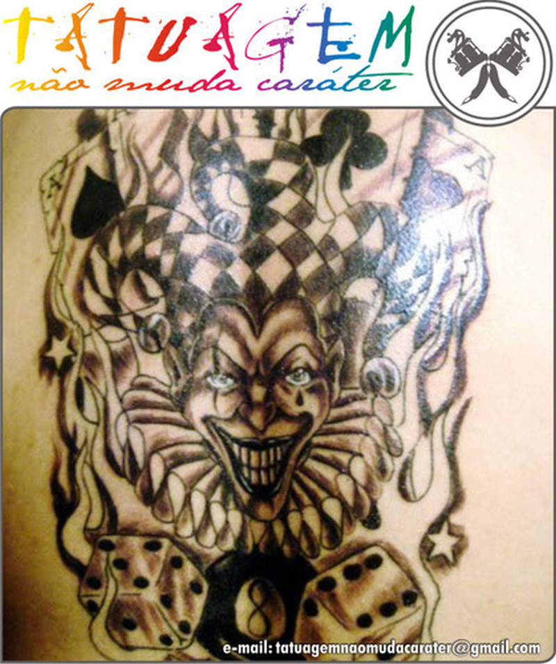Wicked clown with 8 ball dices design tattoo