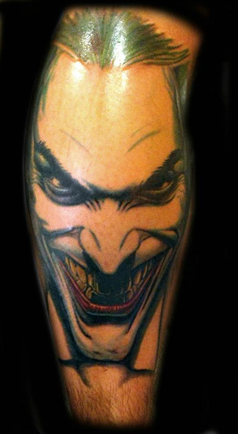 wicked joker face tattoo design tattoos book. Black Bedroom Furniture Sets. Home Design Ideas