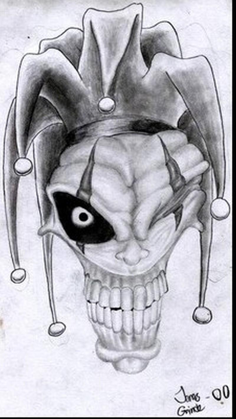 Wicked joker tattoo sketch