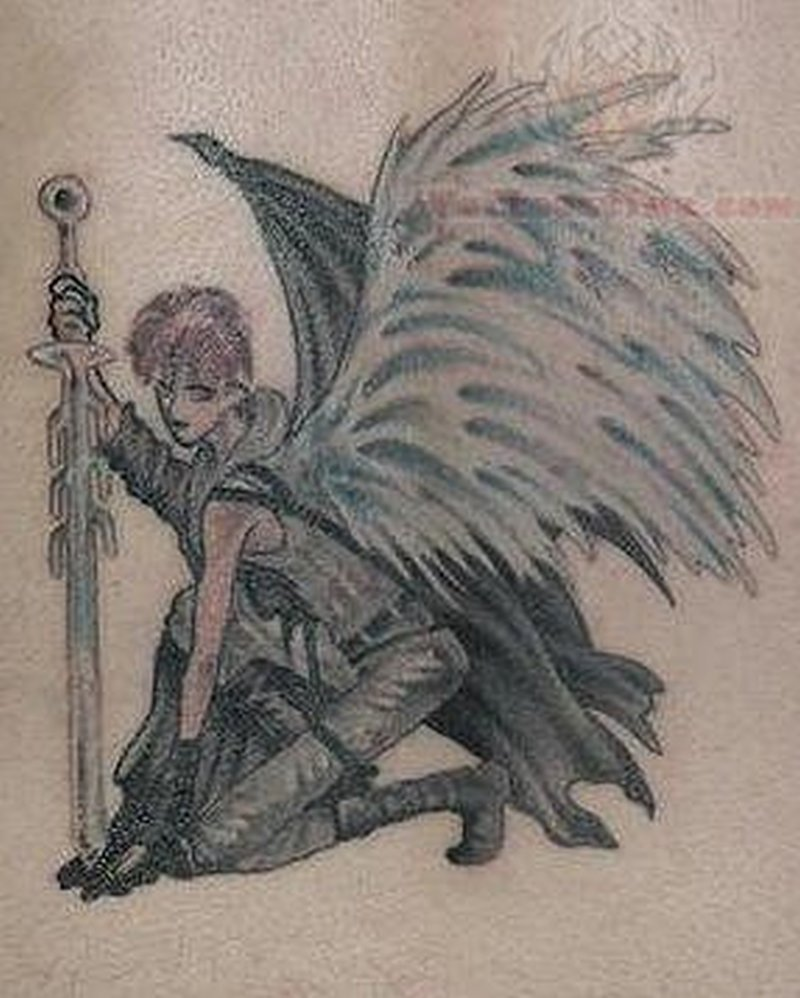 Winged angel with sword tattoo design