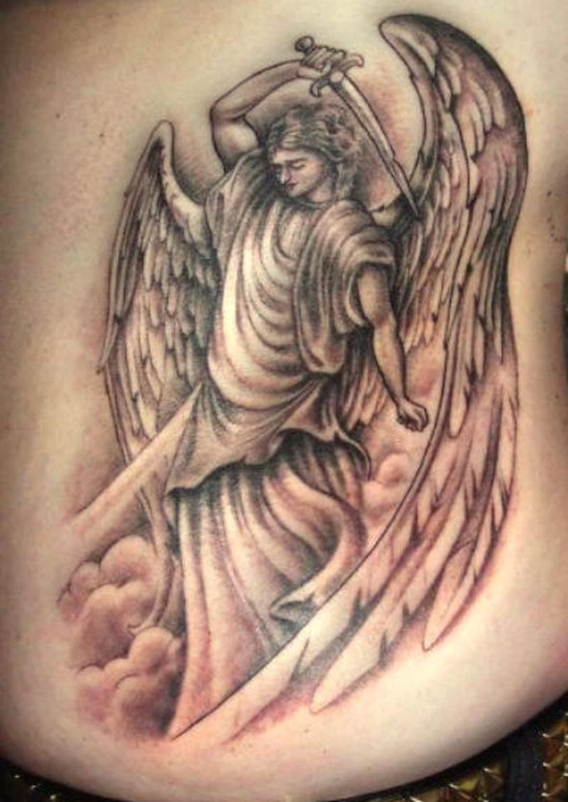 Winged angel woman girl tattoo design