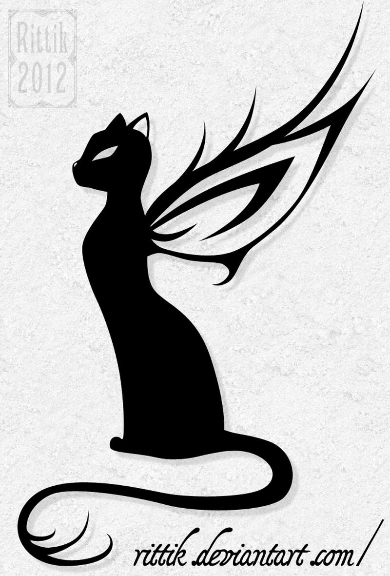 Winged cat tattoo design