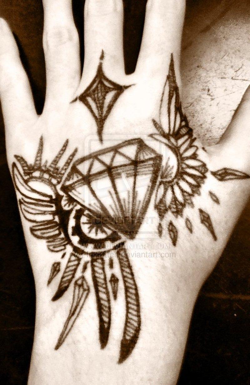 5b5b1ac94 Winged diamond tattoo on hand · Hand Tattoos