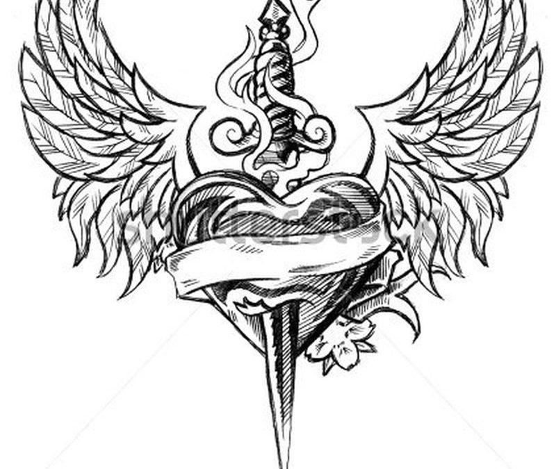Winged heart n dagger design tattoo
