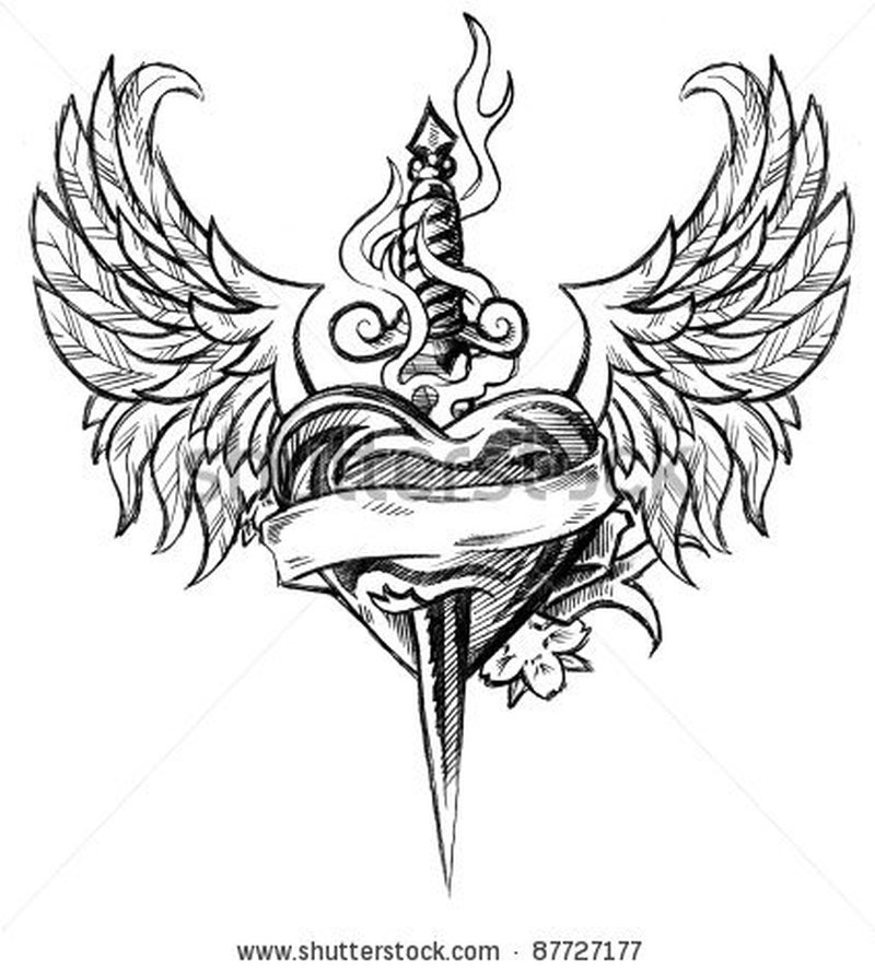 Winged heart n dagger design tattoo