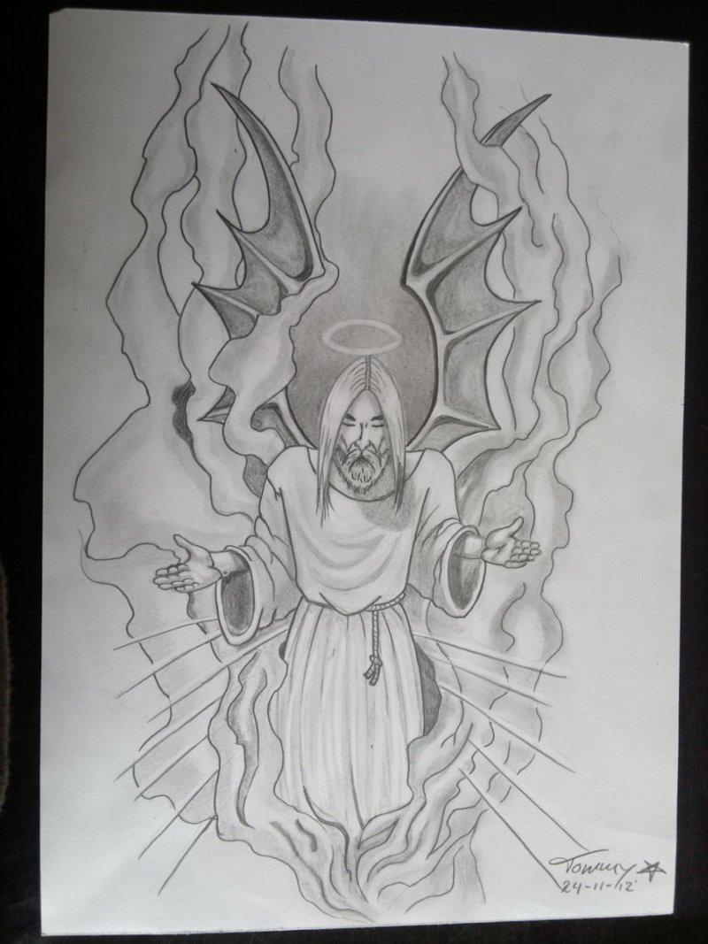 Winged jesus tattoo sketch