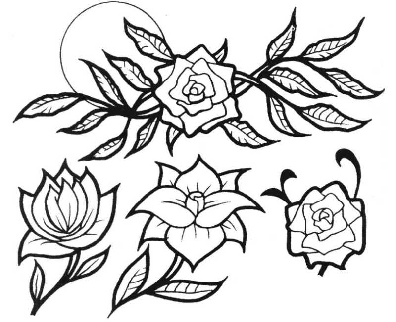 Without color floral tattoo design