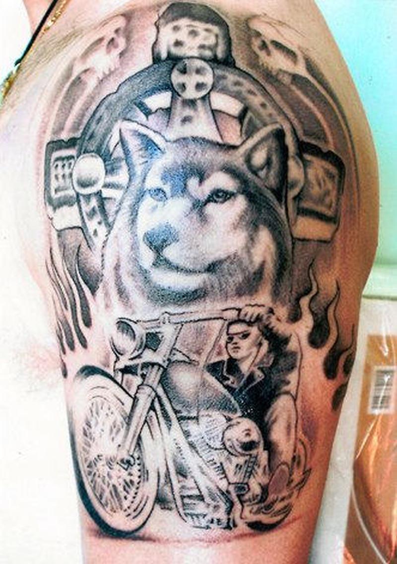 Wolf and biker tattoo