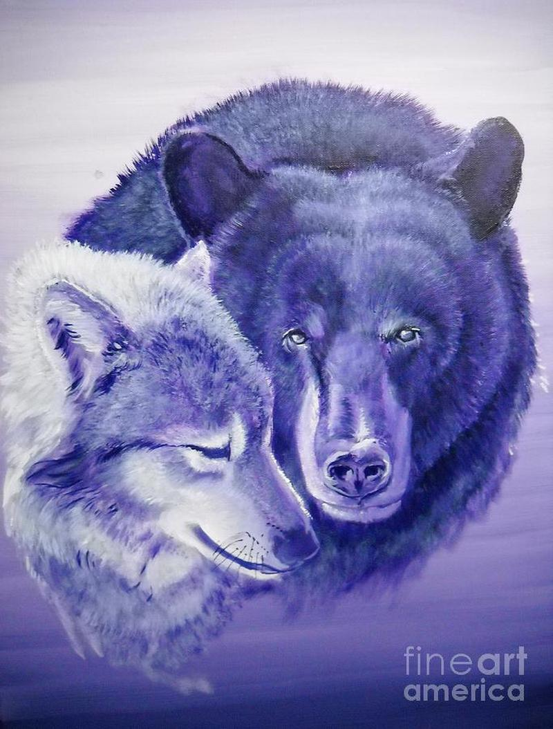 Wolf bear tattoo design