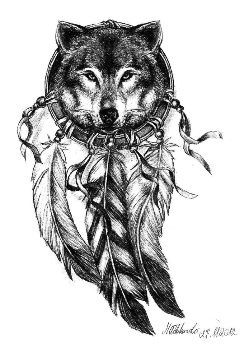 b2ba87819 Wolf dream catcher tattoo design 2 - Tattoos Book - 65.000 Tattoos ...