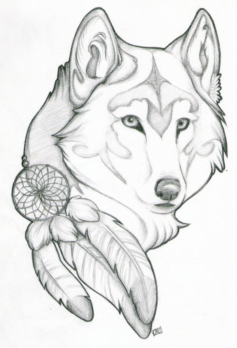 Wolf dream catcher tattoo design 3