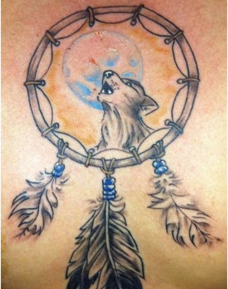 d92b3e1d1 Wolf dream catcher tattoo design 5 - Tattoos Book - 65.000 Tattoos ...