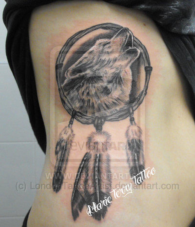 2a580e91f Wolf dream catcher tattoo on ribs - Tattoos Book - 65.000 Tattoos ...
