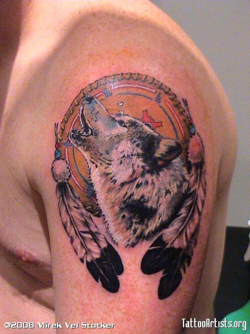 Wolf dream catcher tattoo on shoulder 3