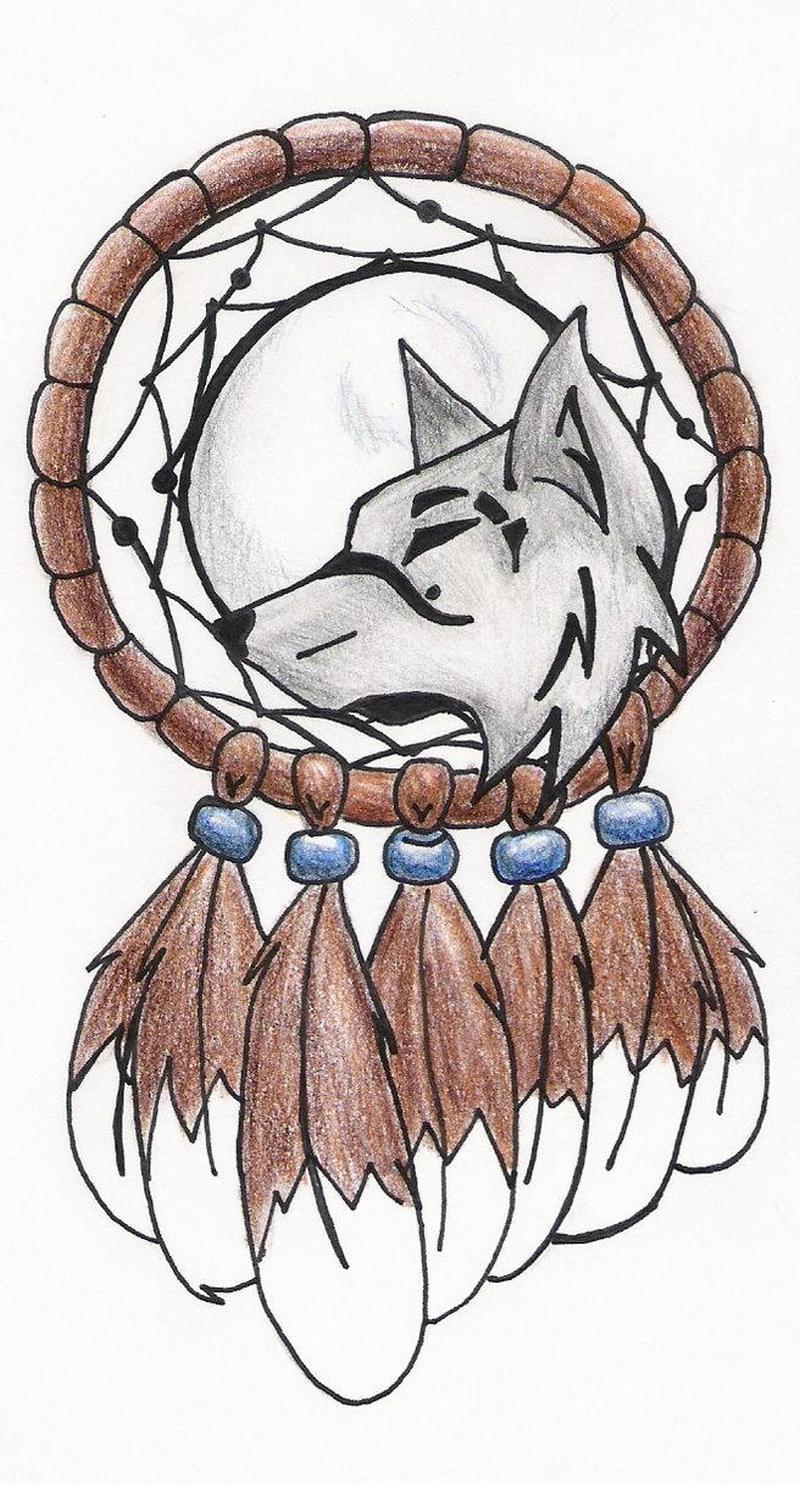 Wolf dream catcher tattoo sample 2