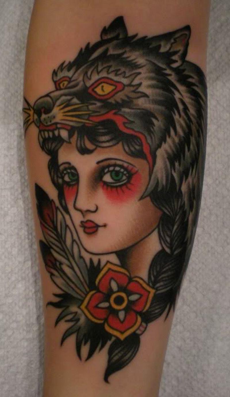Wolf girl tattoo design