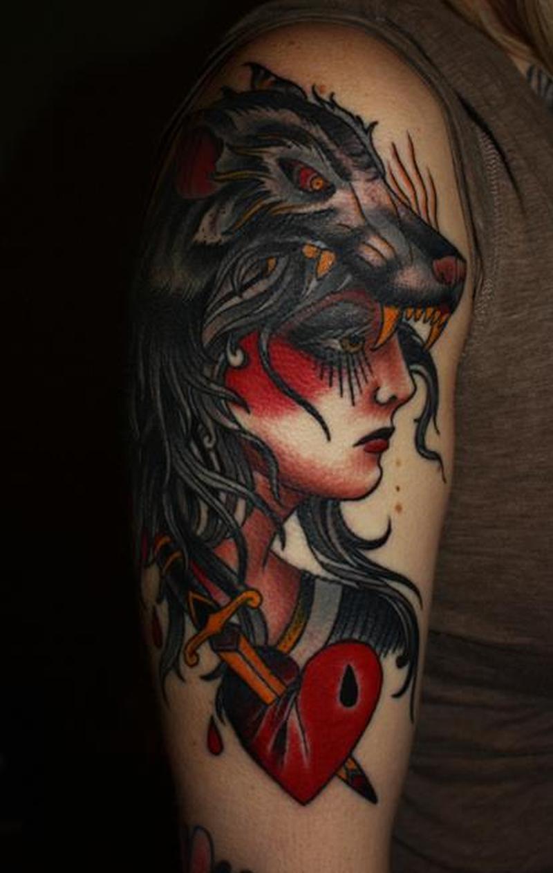 Wolf head gypsy tattoo design