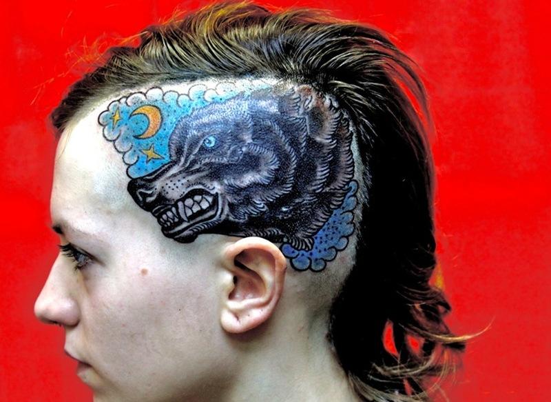 Wolf head tattoo for girls