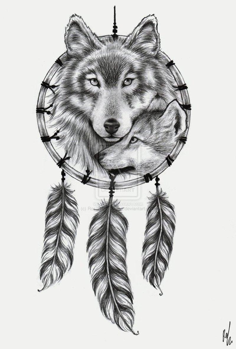 0b1975c1f Wolf n dream catcher tattoo design - Tattoos Book - 65.000 Tattoos ...