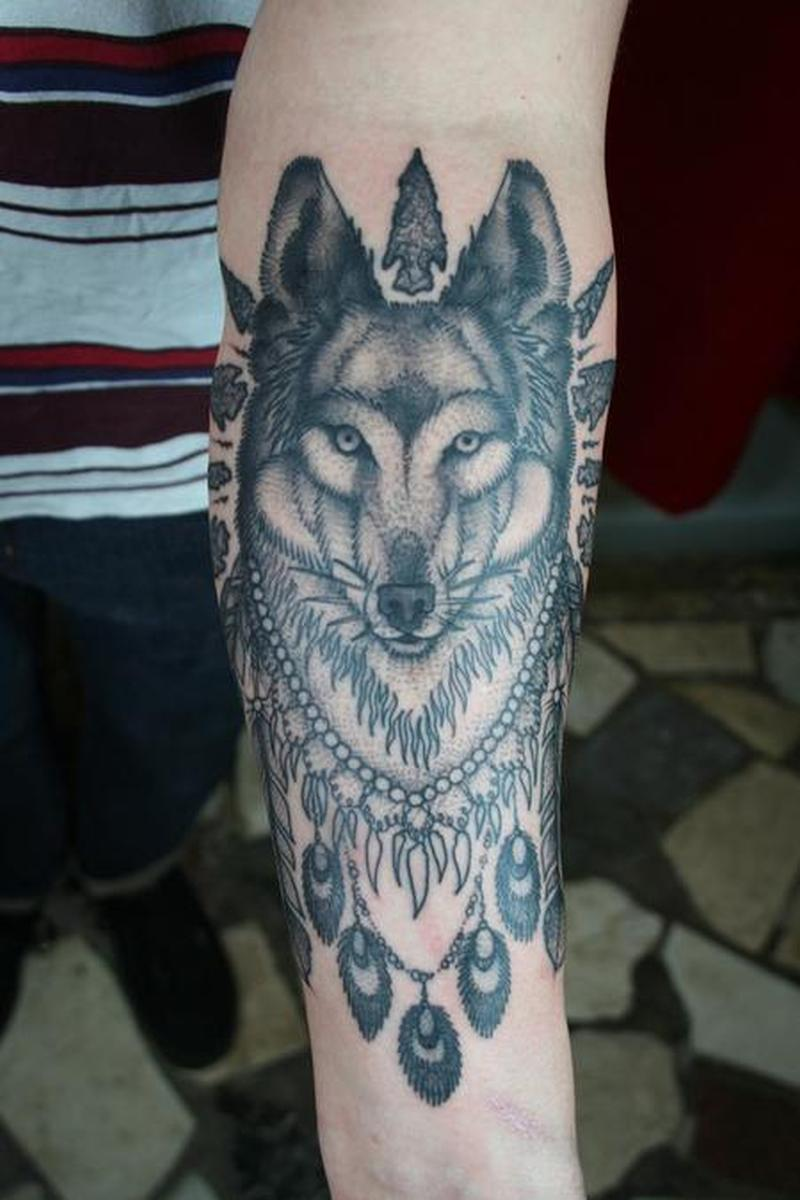 Wolf native tattoo