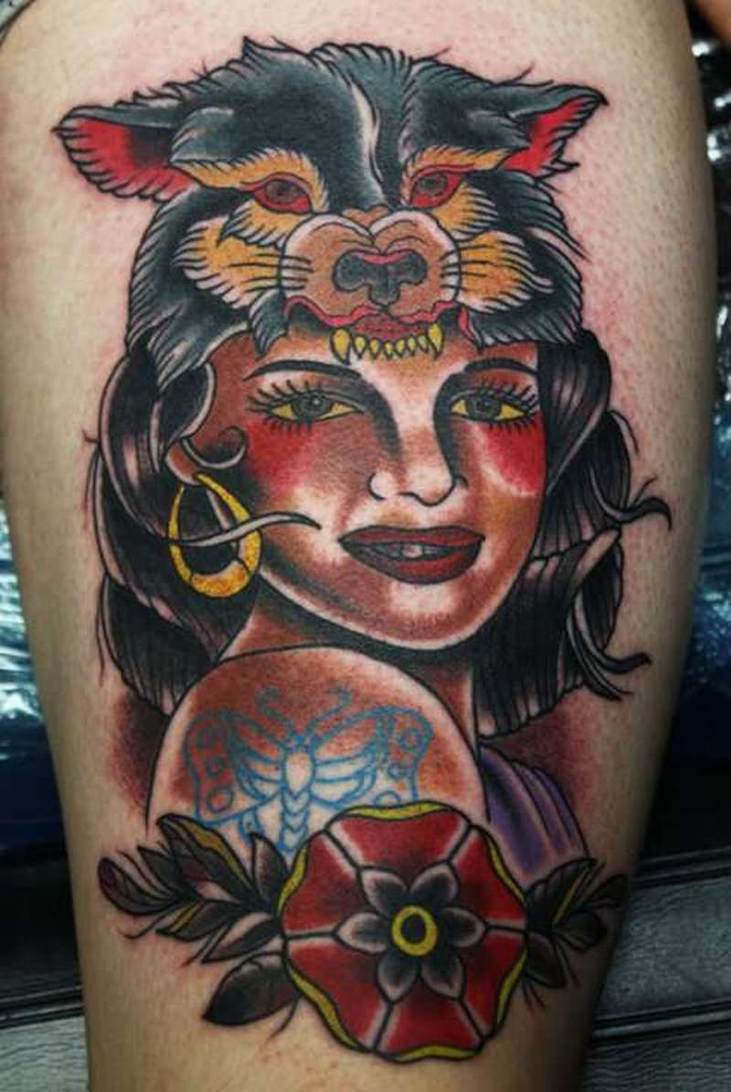 Wolf on gypsy head tattoo design