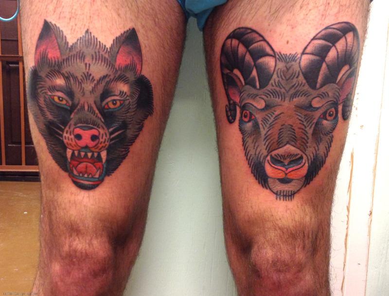 Wolf sheep head tattoo designs on thigh