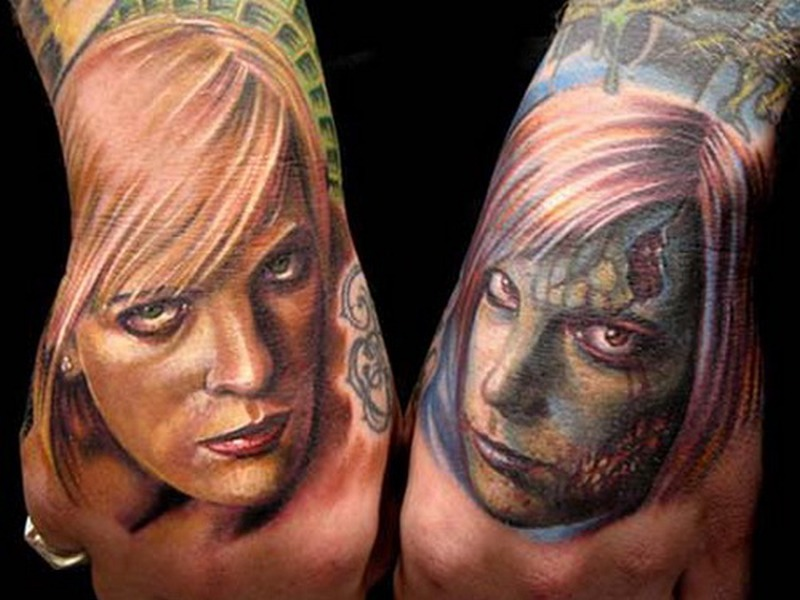 a2384c058 Woman face tattoo designs on hands - Tattoos Book - 65.000 Tattoos ...