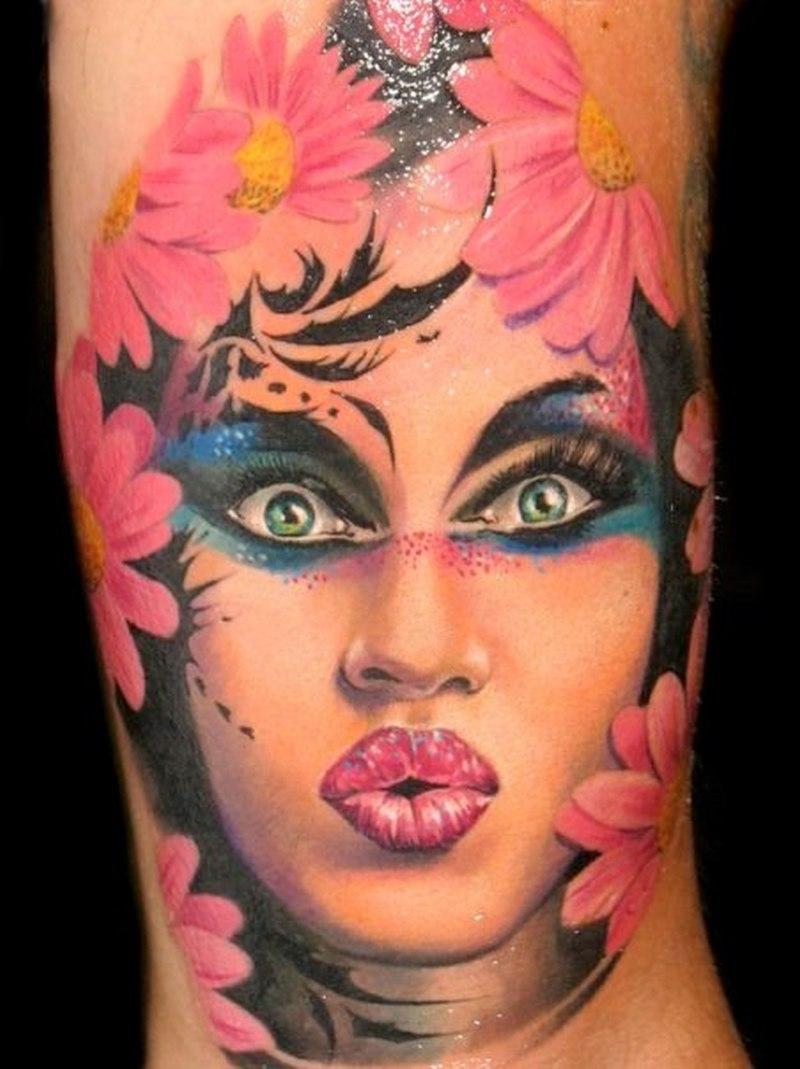 Woman portrait n daisy flowers tattoo design