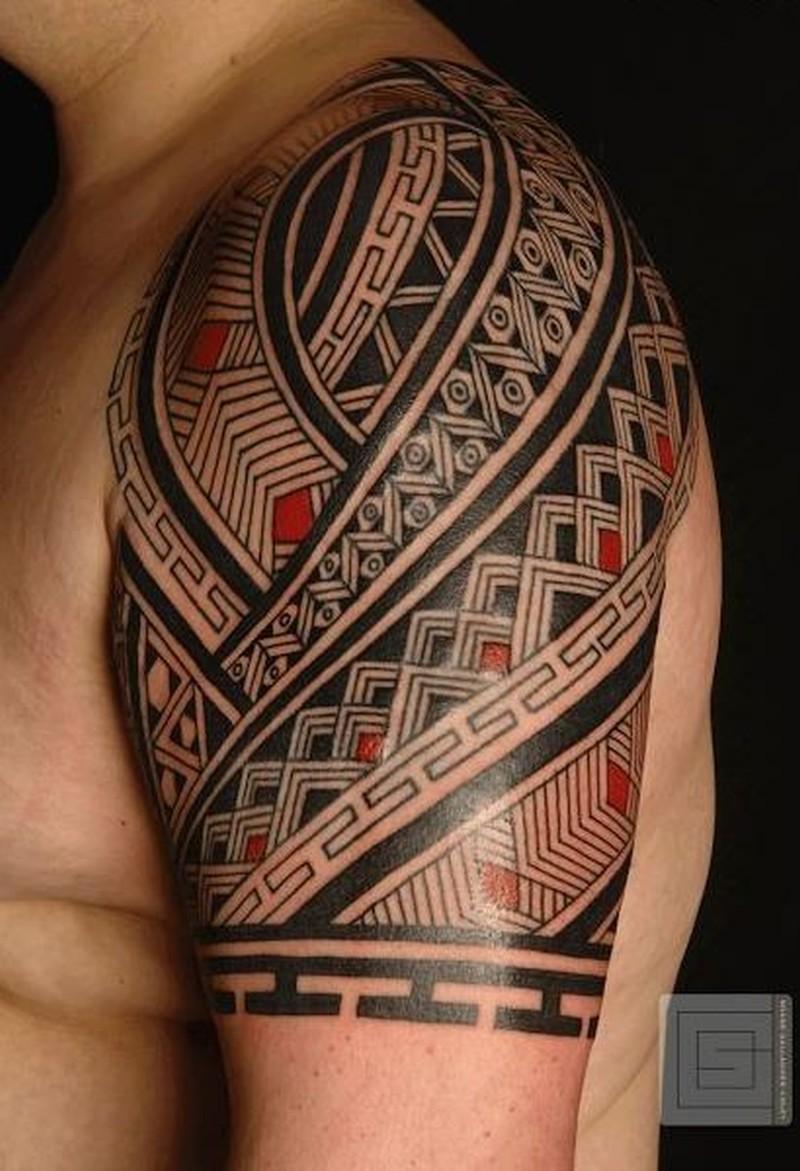 wonderful black red maori tattoo on shoulder tattoos. Black Bedroom Furniture Sets. Home Design Ideas