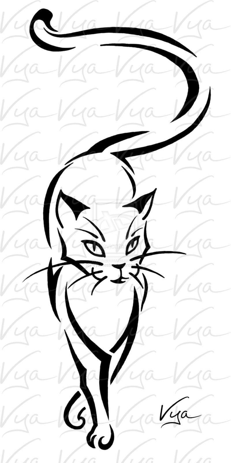 Тату кошки эскизы черно белые для девушек