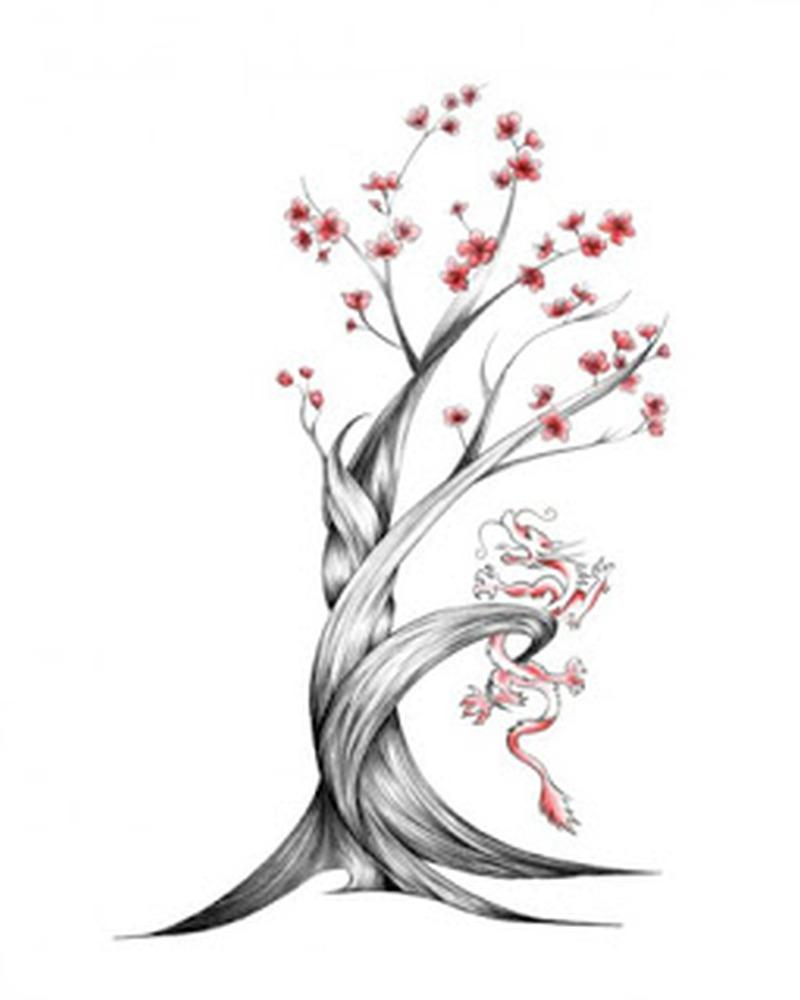 Wonderful cherry blossom tree tattoo design