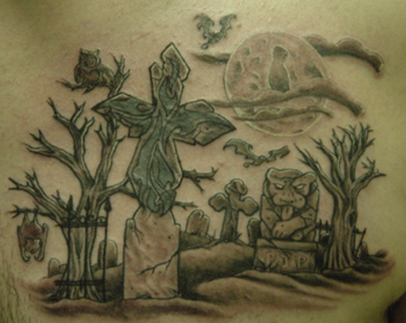Wonderful graveyard tattoo design