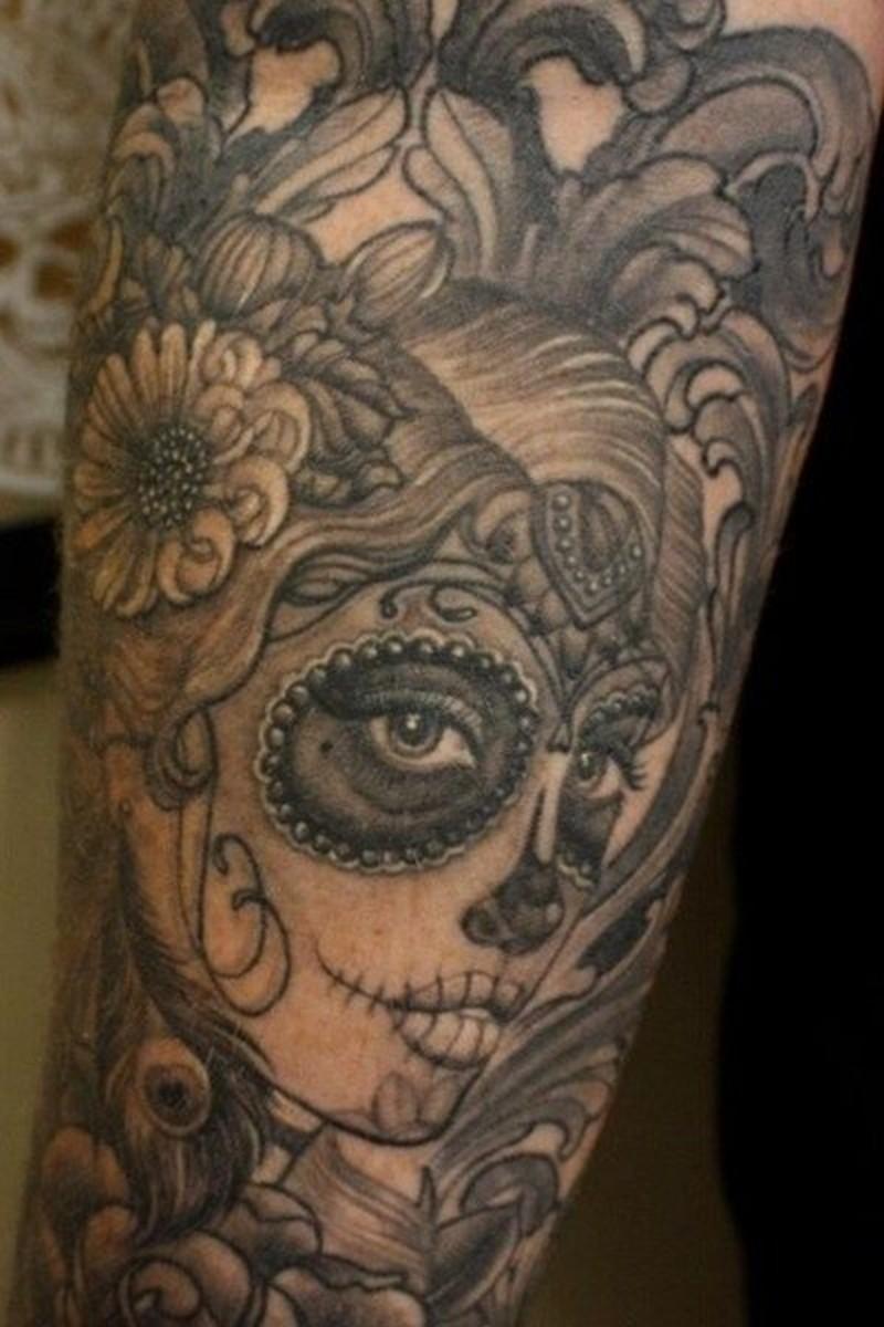Wonderful grey ink santa muerte girl tattoo - Tattoos Book