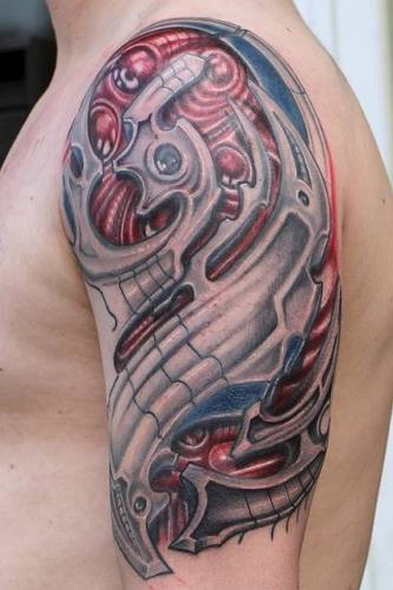 813feffea Wonderful half sleeve biomechanical tattoo - Tattoos Book - 65.000 ...
