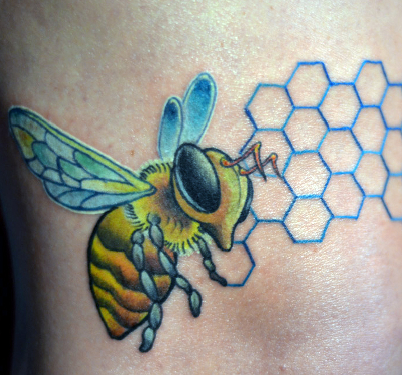 Wonderful honeybee tattoo design