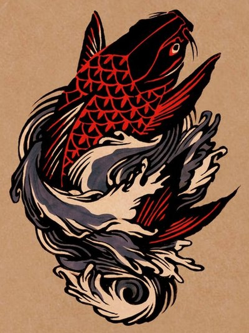 Carp fish tattoo